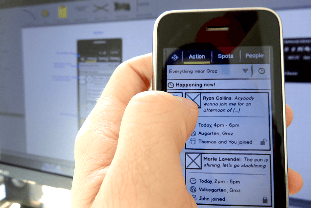 Balsamiq Wireframe on a mobile device