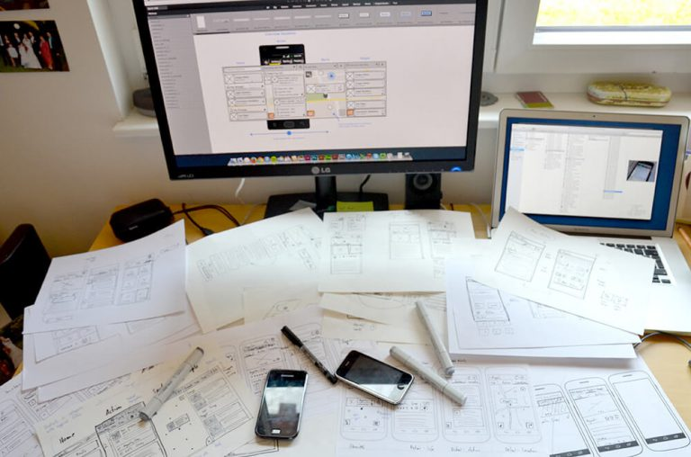 Sketches and wireframes for Slackhive
