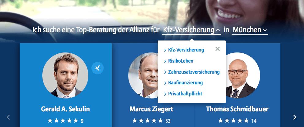 Searching for an insurance broker on https://www.allianz-persoenlich.de/haftpflicht