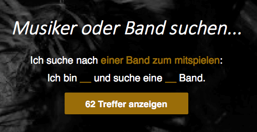 Natural Language Filter on http://bandmatch.ch/