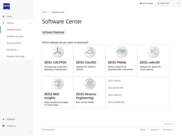 ZEISS Metrology Portal – Software Center