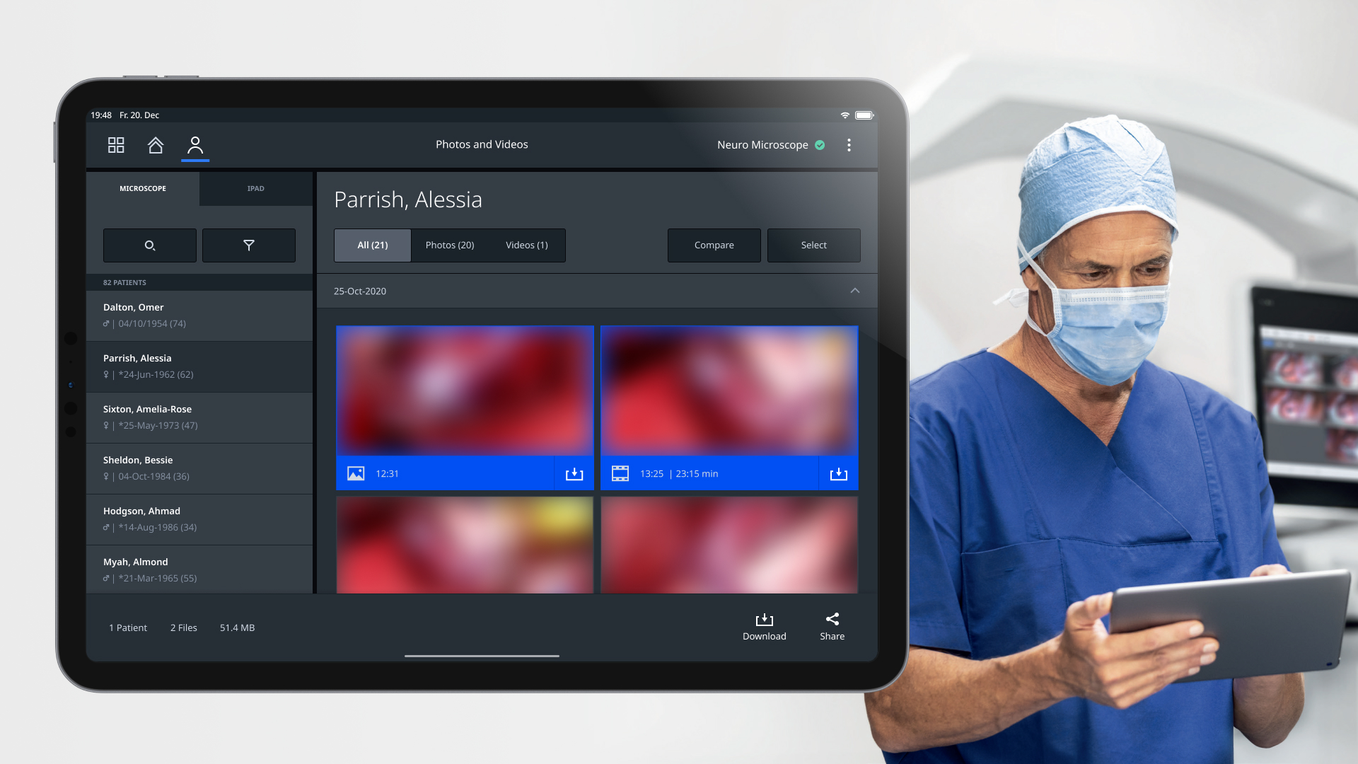 Neurosurgeon uses iPad app to download photos and videos from the microscope