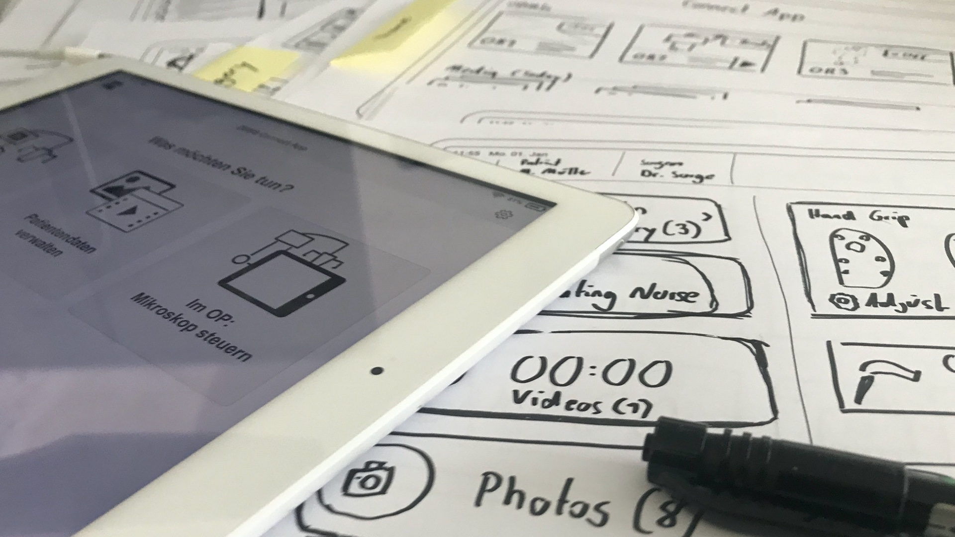Sketching, wireframing and prototyping for medical iPad app